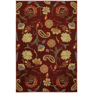 Rubber Back Burgundy Red Multicolor Floral Non-Skid Area Rug (5' x 6'6)