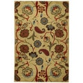 Rubber Back Beige Multicolored Floral Non-Skid Area Rug (5' x 6'6)