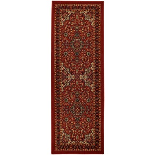 "Rubber Back Red Traditional Floral Non-Skid Runner Rug 22"" x 6'9"""