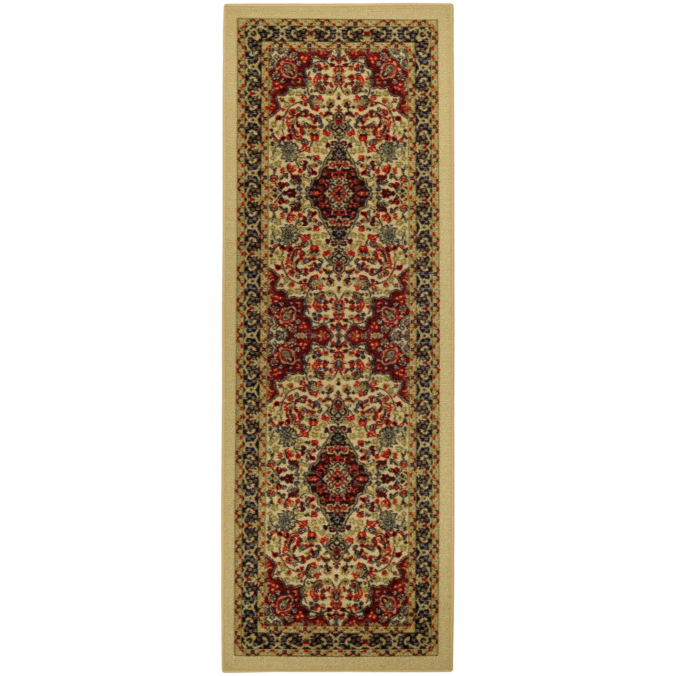 "Rubber Back Ivory Traditional Floral Print Non-Skid Runner Rug (22"" x 6'9) at Sears.com"