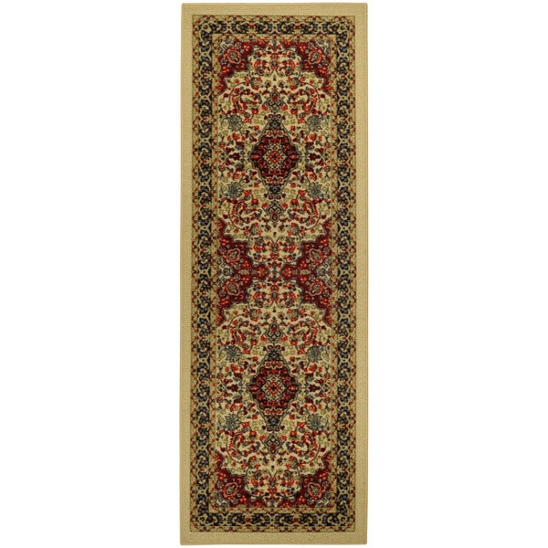 "Rubber Back Ivory Traditional Floral Print Non-Skid Runner Rug (22"" x 6'9)"