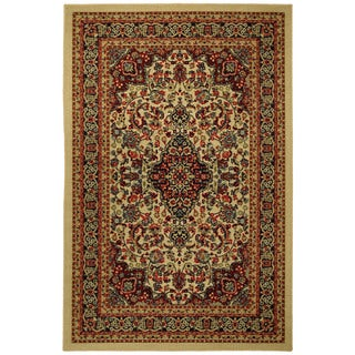 Rubber Back Ivory Traditional Floral Print Non-Skid Area Rug (3'3 x 5')