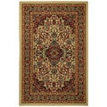 "Rubber Back Ivory Traditional Floral Non-Skid Area Rug 3'3"" x 5'"