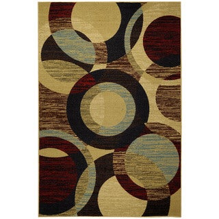 "Rubber Back Multicolor Contemporary Circles Non-Skid Area Rug 3'3"" x 5'"