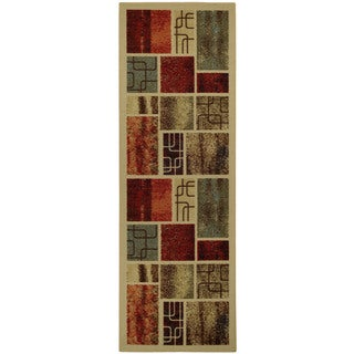 "Rubber Back Multicolored Contemporary Framed Boxes Non-Skid Runner Rug (22"" x 6'9)"