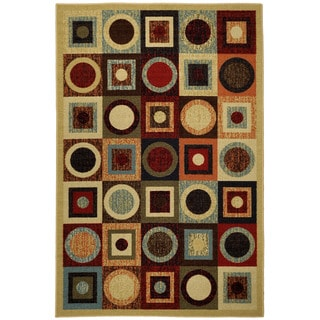 "Rubber Back Multicolor Contemporary Geometric Non-Skid Area Rug 3'3"" x 5'"