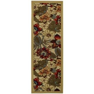 "Rubber Back Ivory Multicolor Floral Garden Non-Skid Runner Rug (22"" x 6'9)"