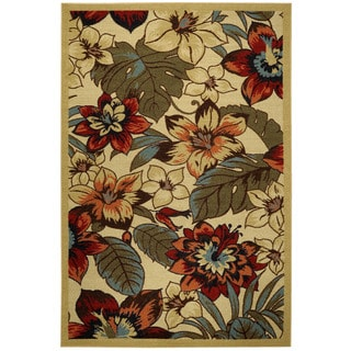 Rubber Back Ivory Multicolor Floral Garden Non-Skid Area Rug (3'3 x 5')