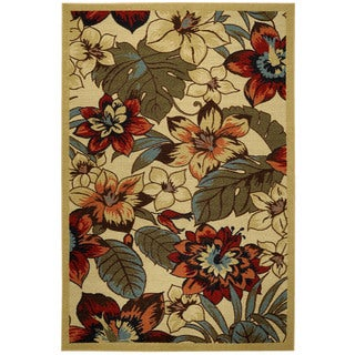 Rubber Back Ivory Multicolor Floral Garden Non-Skid Area Rug (5' x 6'6)