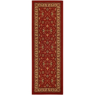 Rubber Back Red Traditional Floral Nylon Nonskid Runner Rug (22 x 6'9)