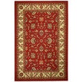 Rubber Back Red Traditional Floral Non-Skid Area Rug (3'3 x 5')