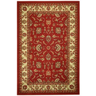 Rubber Back Red Traditional Floral Non-Skid Area Rug (5' x 6'6)