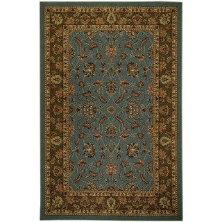 "Rubber Back Ocean Blue Traditional Floral Non-Skid Area Rug 3'3"" x 5'"