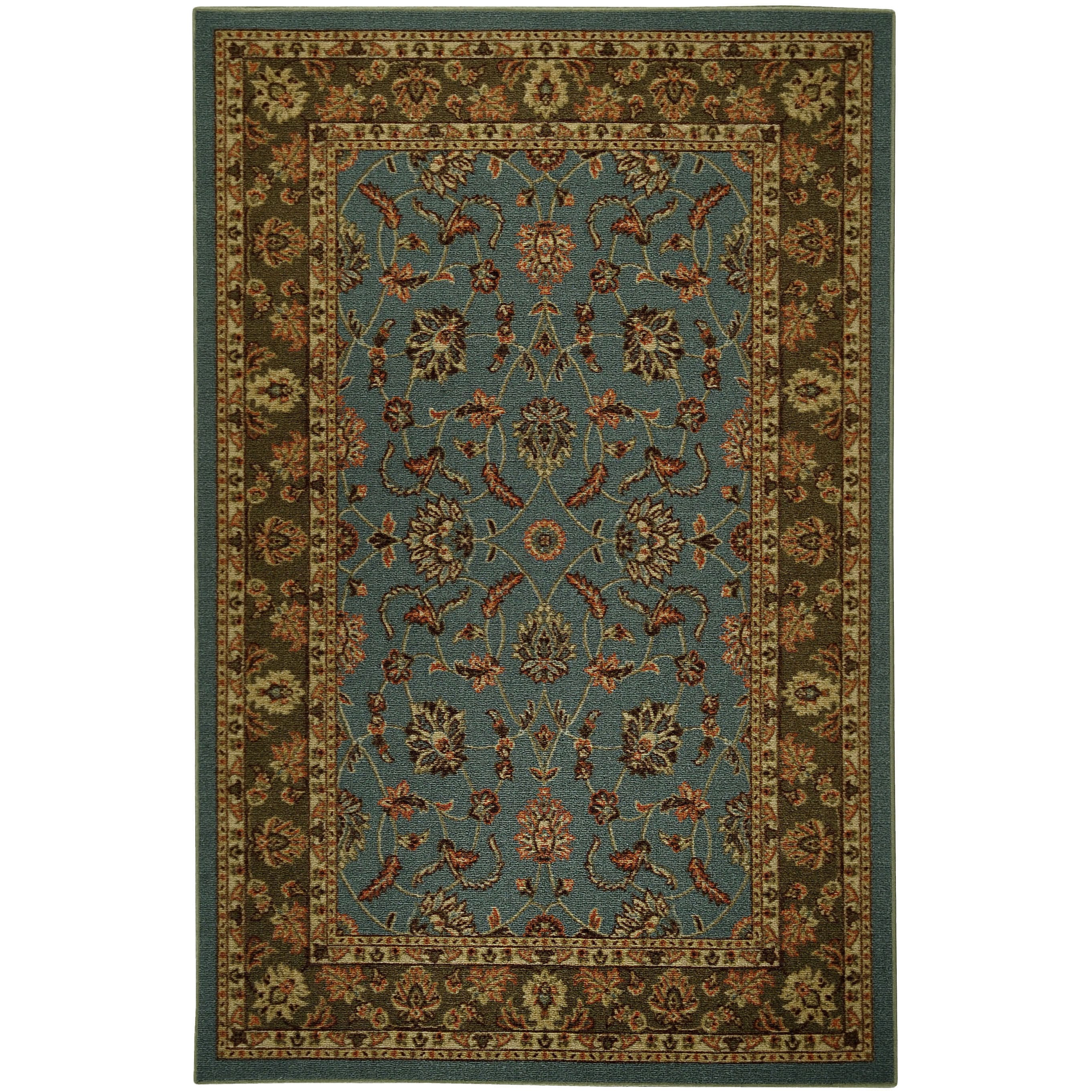 Rubber Back Ocean Blue Traditional Floral Non-Skid Area Rug (5' x 6'6) at Sears.com