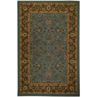 Rubber Back Ocean Blue Traditional Floral Non-Skid Area Rug (5' x 6'6)