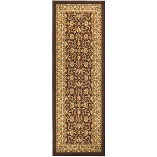 """Rubber Back Brown Traditional Floral Non-Skid Runner Rug (22"""" x 6'9)"""