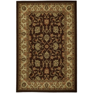 "Rubber Back Brown Traditional Floral Non-Skid Area Rug 3'3"" x 5'"