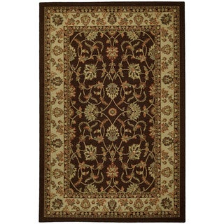 Rubber Back Brown Traditional Floral Non-Skid Area Rug (3'3 x 5')