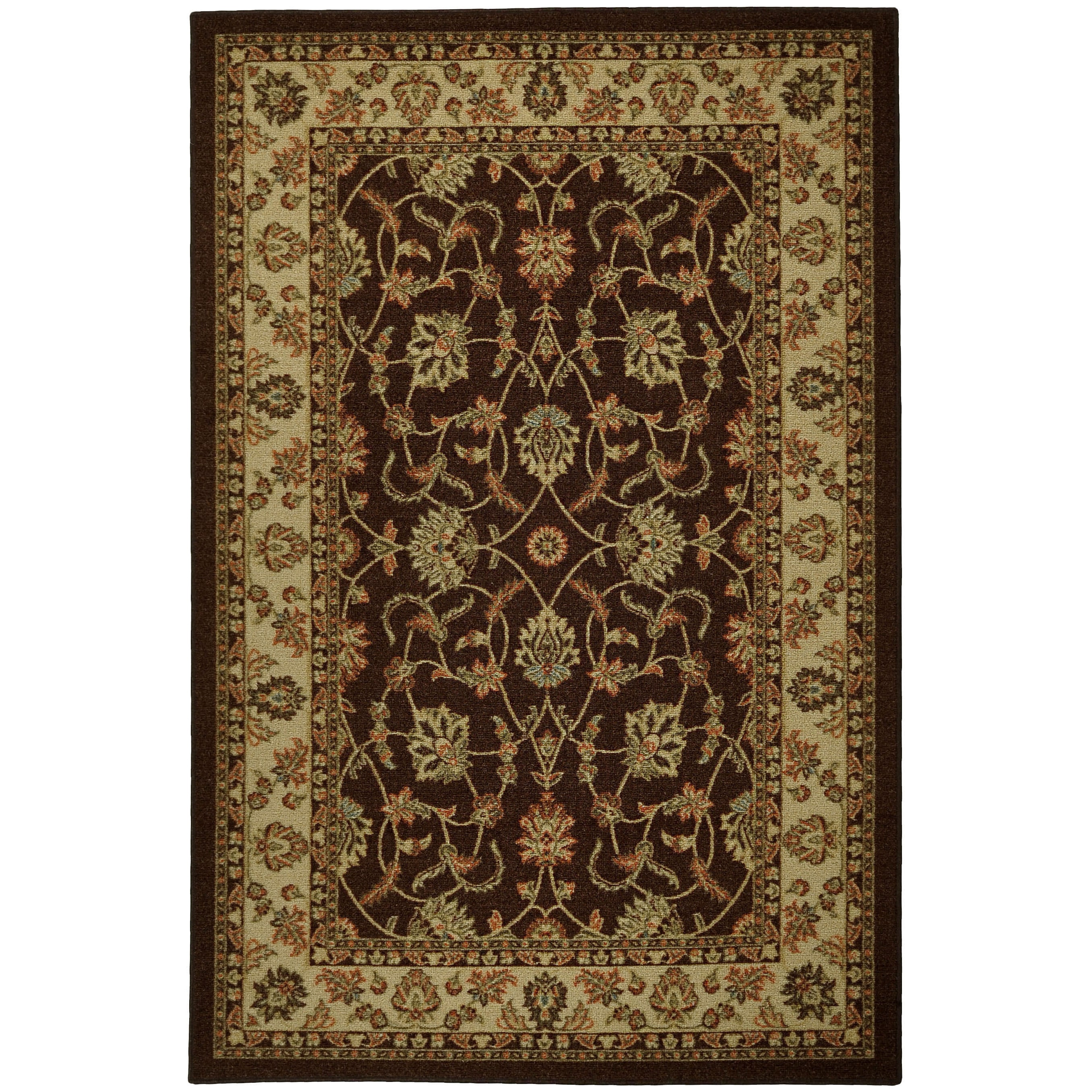 Rubber Back Brown Traditional Floral Non-Skid Area Rug (5' x 6'6) at Sears.com