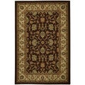 Rubber Back Brown Traditional Floral Non-Skid Area Rug (5' x 6'6)