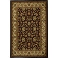 Rubber Back Brown Traditional Floral Non-Skid Area Rug 5' x 6'6""
