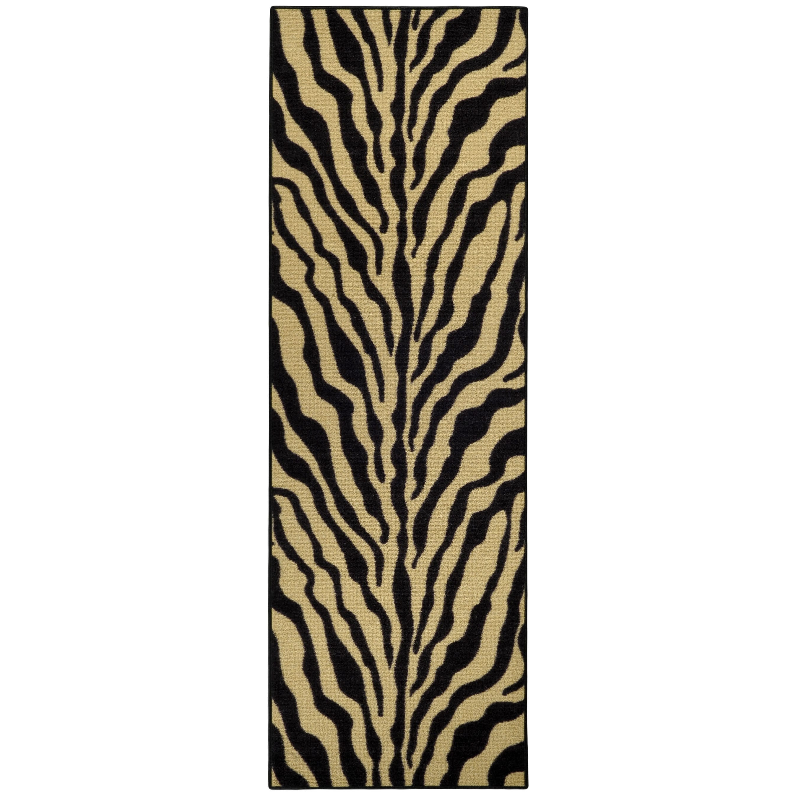 "Rubber Back Black and Ivory Tiger Print Non-Skid Runner Rug (22"" x 6'9) at Sears.com"