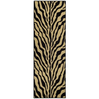 "Rubber Back Black and Ivory Tiger Print Non-Skid Runner Rug (22"" x 6'9)"