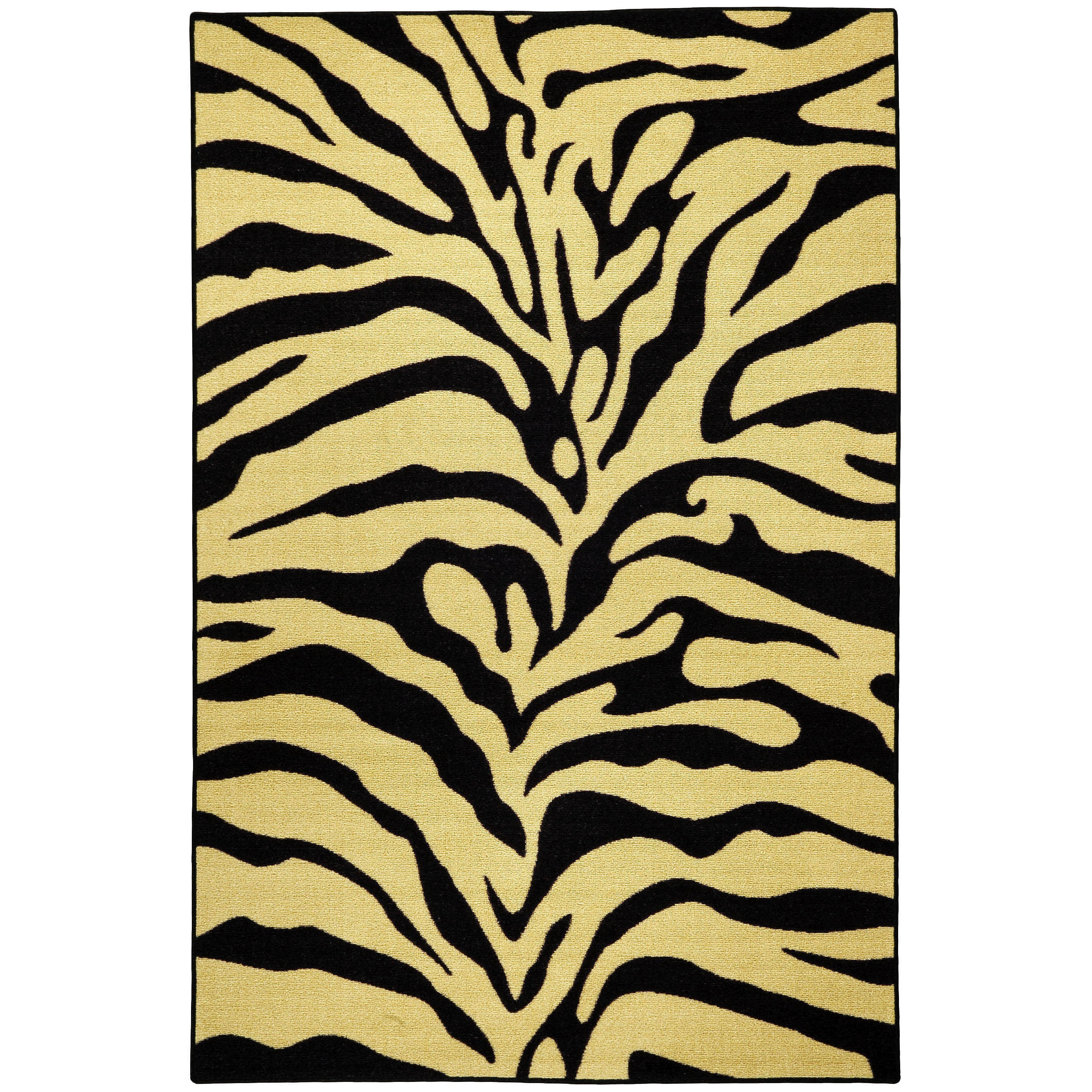 Rubber Back Black and Ivory Tiger Print Non-Skid Area Rug (5' x 6'6) at Sears.com