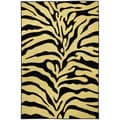 Rubber Back Black and Ivory Tiger Print Non-Skid Area Rug (5' x 6'6)