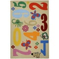 Kids Educational Numbers and Animals Ivory Non-Skid Area Rug (3'3 x 5')