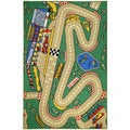 Kid's City Race Track and Cars Green Non-skid Area Rug (4'3 x 6'1)