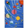 Kid's Educational Galaxy Planets and Stars Blue Non-Skid Area Rug (3'3 x 5')