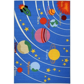 "Kid's Educational Galaxy Planets and Stars Blue Non-skid Area Rug (4'3"" x 6'1"")"