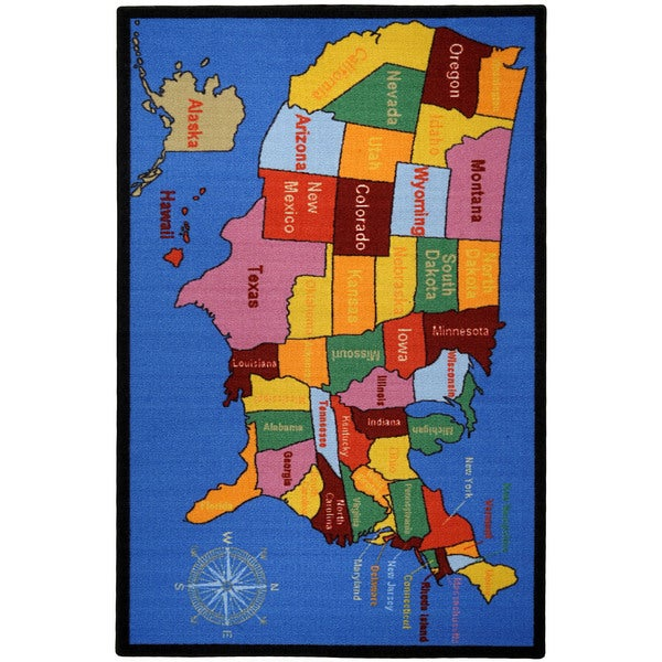 Kidu0026#39;s Educational United States Map and Cities Non-Skid Area Rug (3u0026#39;3 x 5u0026#39;) - 15770461 ...