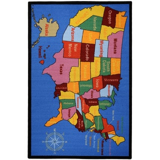 "Kids Educational Non-Skid United States Map Cities 3'3"" x 5' Area Rug"