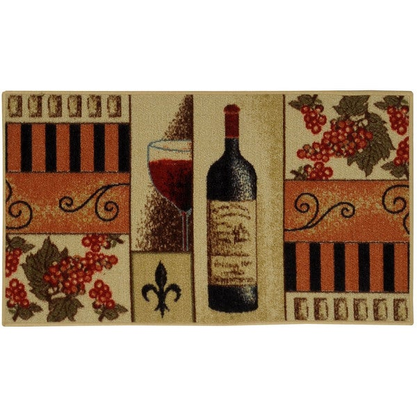 French Wine Glass Non Skid Kitchen Mat Rubber Back Rug 18