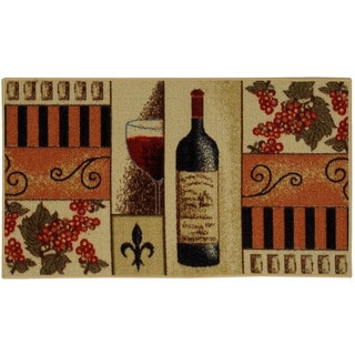 "French Wine Glass Non-skid Kitchen Mat Rubber Back Rug (18"" x 30"")"
