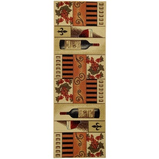 "French Wine Glass Non-Skid Kitchen Runner Rubber Back Rug (20"" x 59"") - 20"" x 59"""