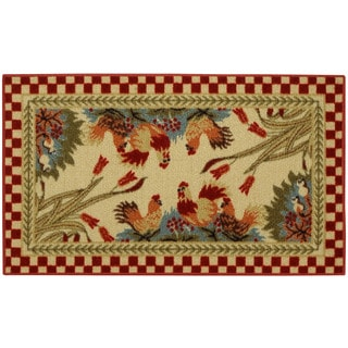 "Rooster Checkered Non-skid Kitchen Mat Rubber Back Rug (18"" x 30"")"