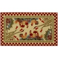 Rooster Checkered Non-skid Kitchen Mat Rubber Back Rug (18