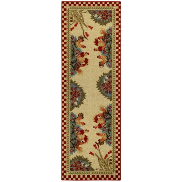 Rooster Checkered Non-skid Kitchen Runner Rubber Back Rug 20 x 59