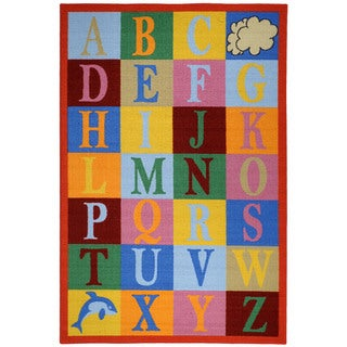 Kids Educational Alphabet Boxes Multicolored Non-Skid Area Rug (5' x 6'6)