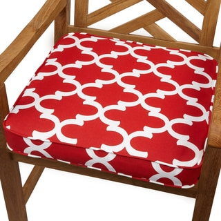 Scalloped Red 20-inch Indoor/ Outdoor Corded Chair Cushion