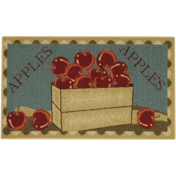 "Apple Basket Red Green Non-Skid 18"" x 30"" Kitchen Mat Rubber Back Rug"