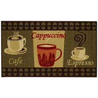 "Cafe Cappuccino Espresso Non-Skid 18"" x 30"" Kitchen Mat Rubber Back Rug"