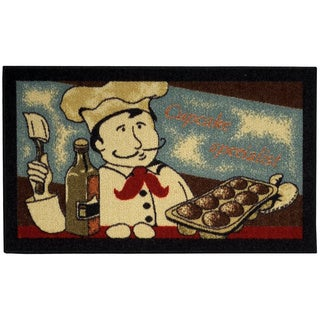 "Cookie Chef Black Non-Skid 18"" x 30"" Kitchen Mat Rubber Back Rug"