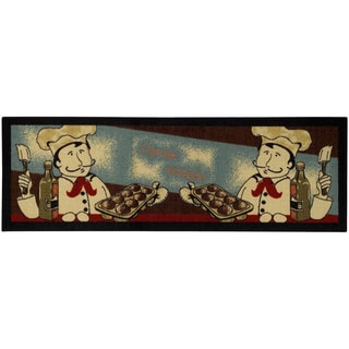 "Cookie Chef Black Non-Skid 20"" x 59"" Kitchen Runner Rubber Back Rug"