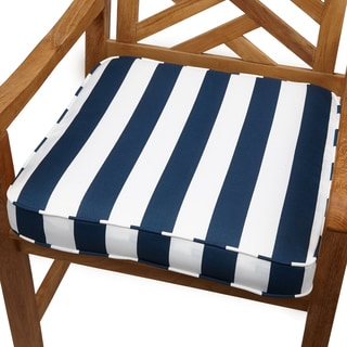 Navy Stripe 19-inch Indoor/ Outdoor Corded Chair Cushion