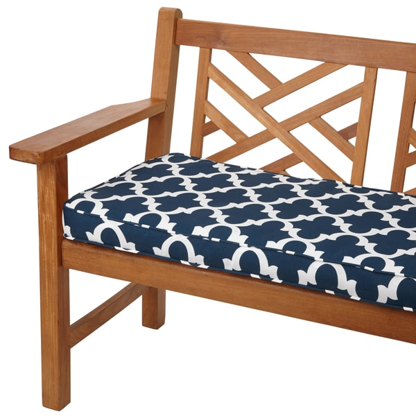 Scalloped Navy 48-inch Indoor/ Outdoor Corded Bench Cushion