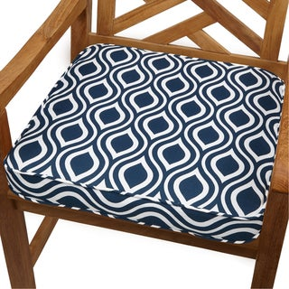 Wavy Stripe Navy 19-inch Indoor/ Outdoor Corded Chair Cushion